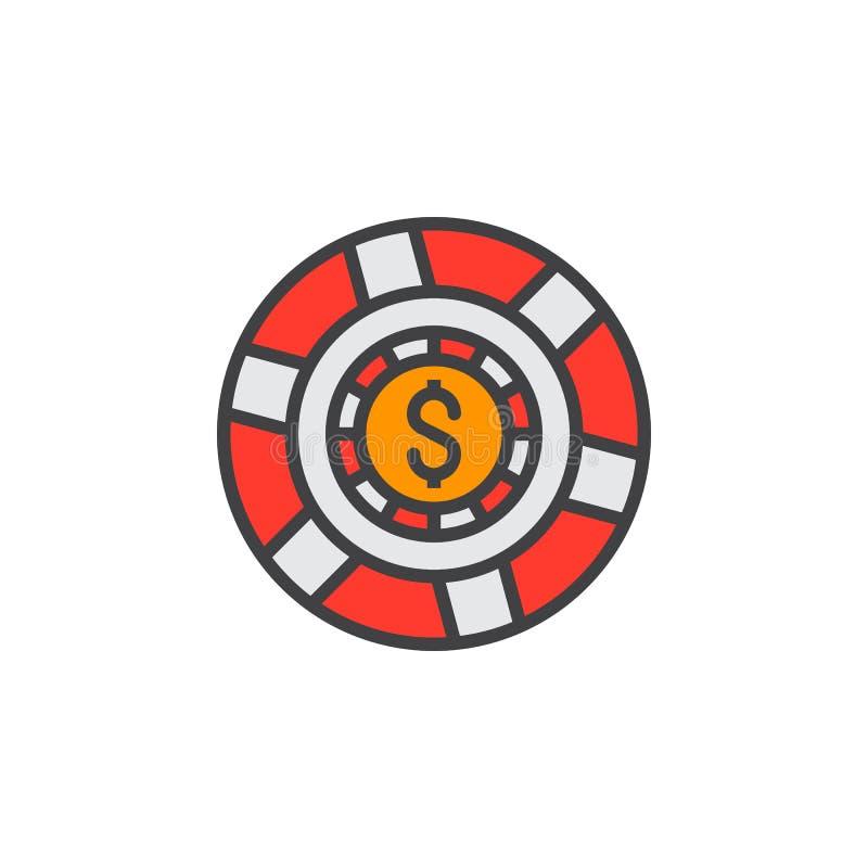 Kasynowy żeton, hazardu układu scalonego linii ikona, wypełniający konturu wektoru znak, ilustracji