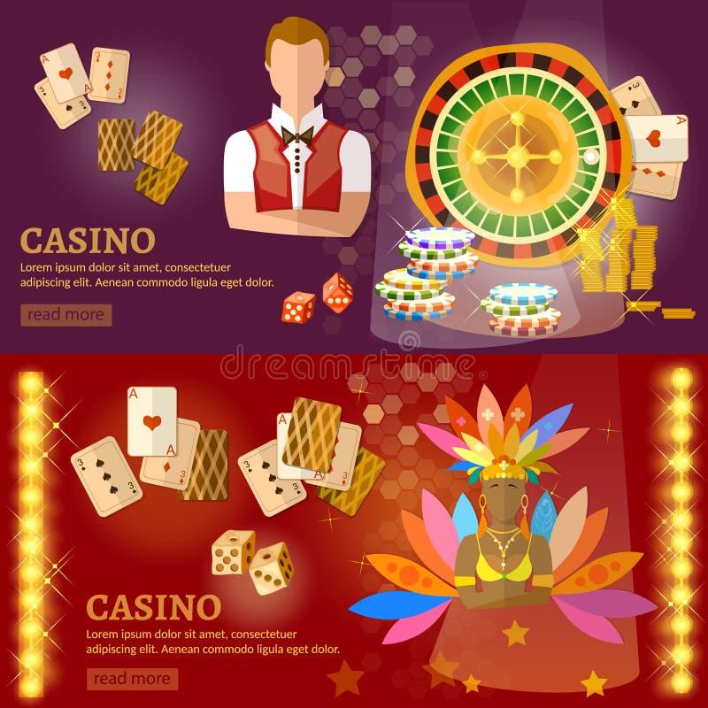 Kasynowy i uprawiający hazard domowych sztandary ilustracja wektor