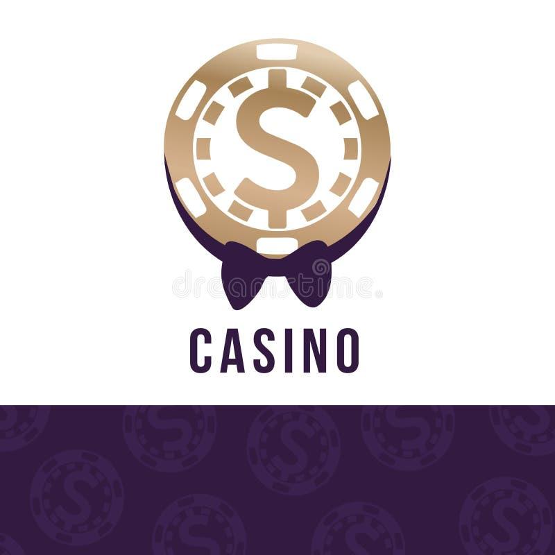 Kasynowy logo, dolarowego znaka ikona w układzie scalonym i mężczyzna ` s motyl, etykietka symbol, logotypu pojęcie, wektorowa il royalty ilustracja