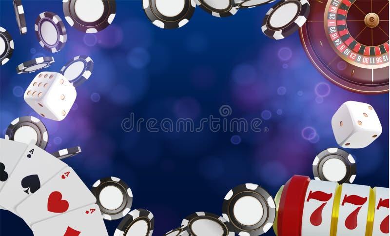 Kasynowy tło z miejscem dla teksta Kasynowi karta do gry, kostka do gry i układy scaleni, Online kasynowy grzebaka pojęcia projek ilustracji