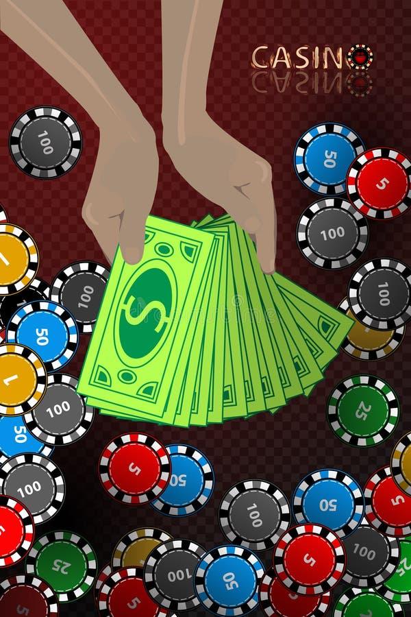 Kasynowy układ scalony ręki naręcze pieniędzy wygrania ilustracja wektor