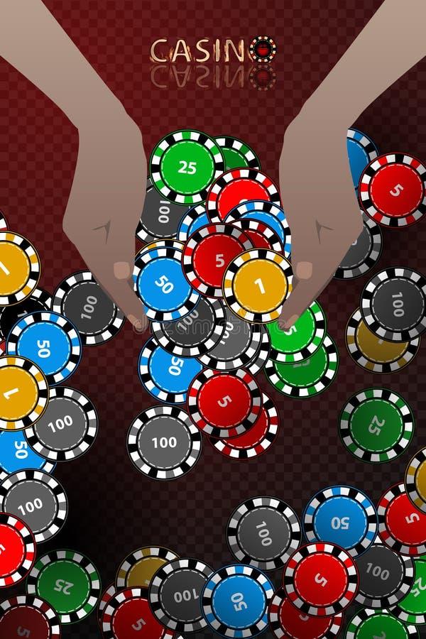 Kasynowy układ scalony ręki naręcze wygrania pojęcie ilustracja wektor