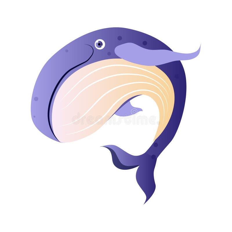 Kaszalot lub sperma wieloryb, denna istota Kolorowy postać z kreskówki ilustracji
