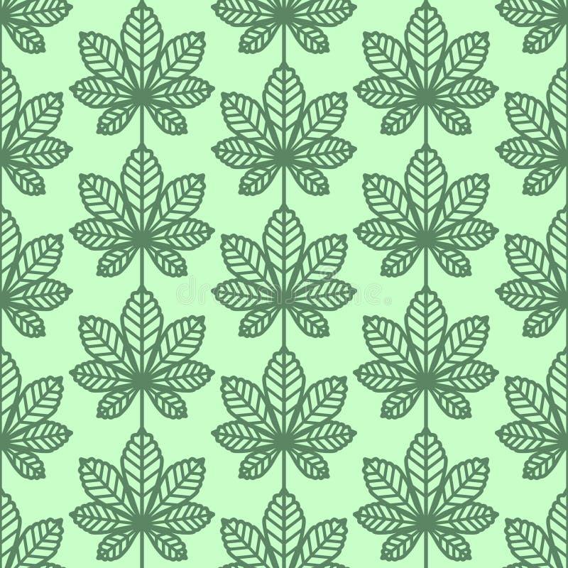 Kasztan opuszcza bezszwowego wektoru wzór Rocznika styl i kolory (zieleń) ilustracji