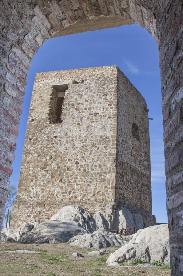 Kasztel Belmez wierza hołd, cordoba, Hiszpania zdjęcia royalty free