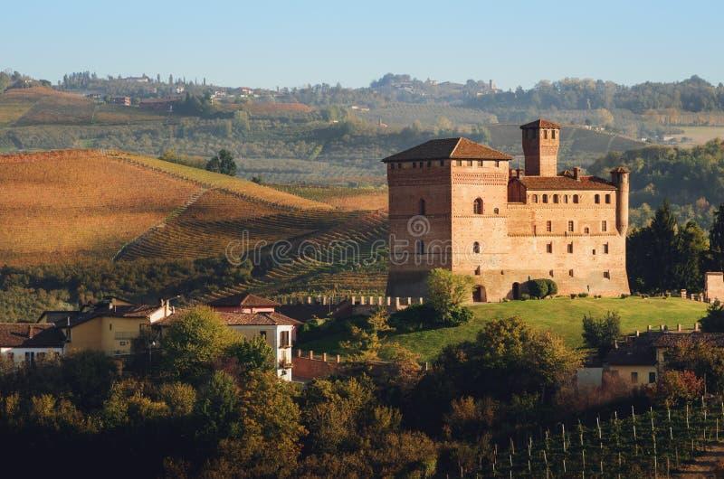 Kasztel Grinzane Cavour, otaczający winnicami Langhe importan wino okręg Włochy obraz stock