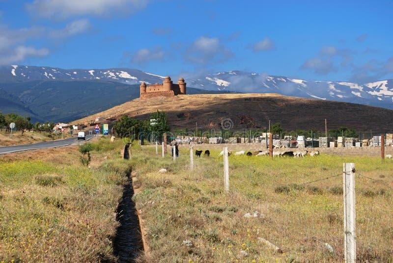 Kasztel i góry, los angeles Calahorra, Hiszpania. zdjęcie stock