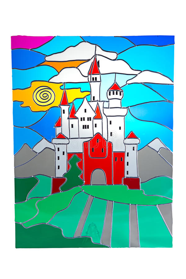 Kasztel i słońce - witraż zdjęcie royalty free
