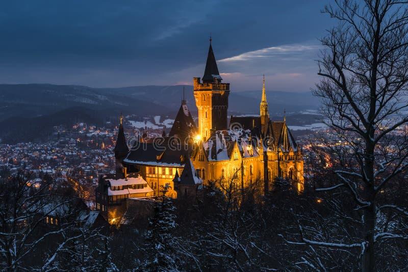 Kasztel i Wernigerode w zimie obraz stock