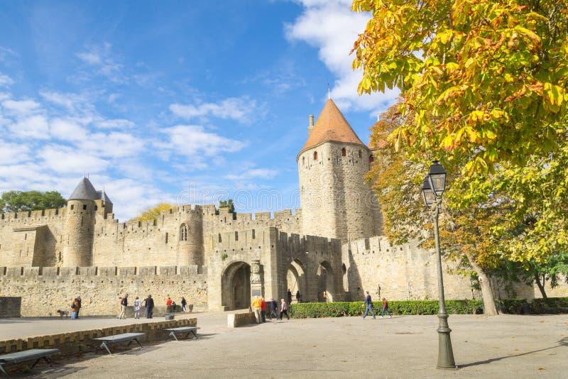 Kasztel lub fort znamy gdy los angeles Cytuje de Carcassonne, Francja zdjęcia stock