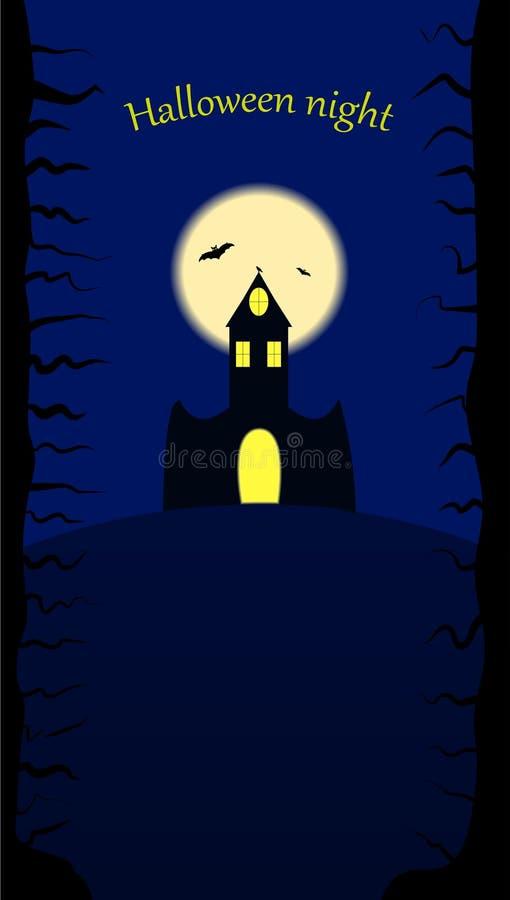 Kasztel na nocy Halloween ilustracja wektor