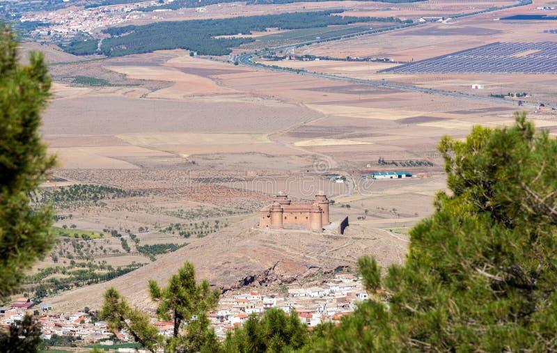 Kasztel na szczycie nad los angeles Calahorra Hiszpania zdjęcie royalty free