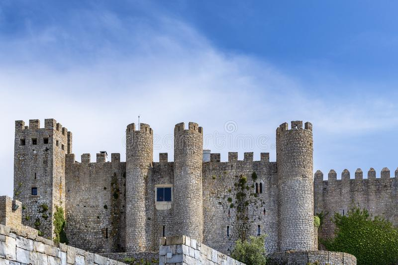 Kasztel Obidos w średniowiecznym miasteczku Obidos Portugalia zdjęcie royalty free