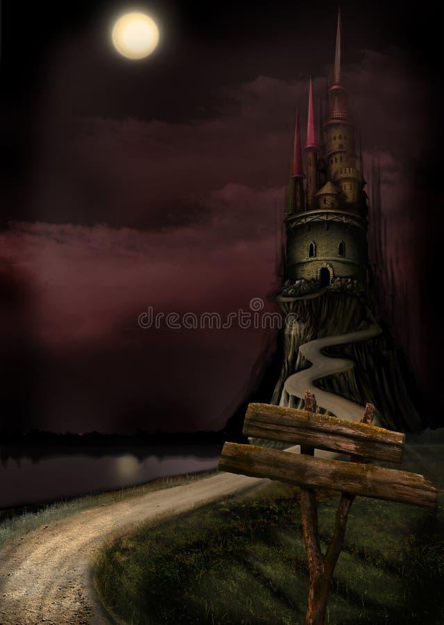 kasztel tęsk księżyc ilustracja wektor