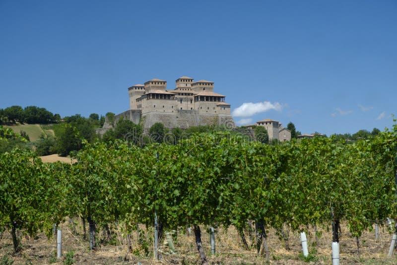 Kasztel Torrechiara Parma, Włochy obraz royalty free