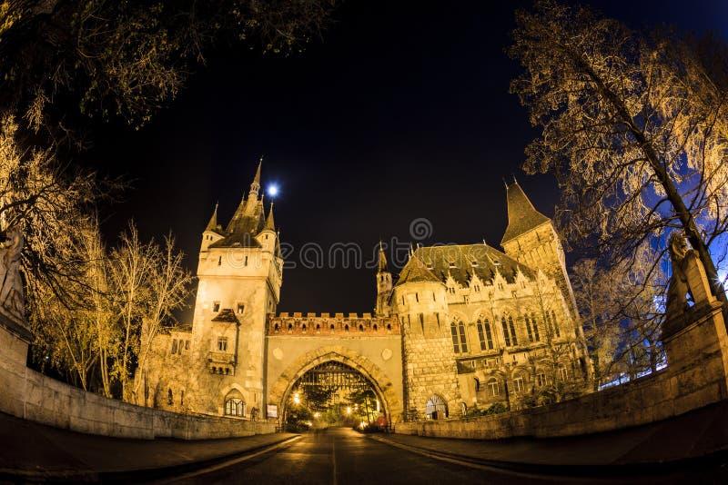 Kasztel w miasto parku Budapest nocy światłami Budapest zdjęcia royalty free