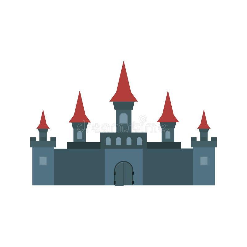 Kasztele i fortecy płaskie projekta wektoru ikony ilustracja wektor