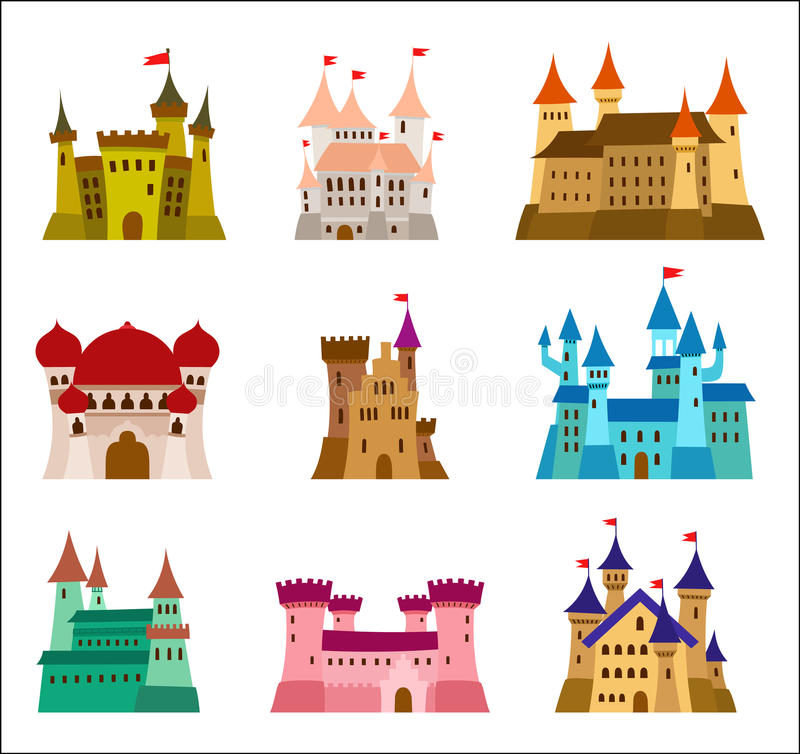 Kasztele i fortecy projekta wektoru płaskie ikony Set ilustracje ruiny, dwory, pałac, wille i inny, royalty ilustracja
