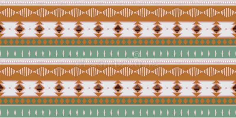 kat几何民间传说装饰品部族种族 在阿兹台克样式的无缝的条纹图形 图部族刺绣 印地安人, 库存例证