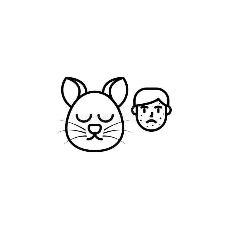 Kat, allergisch gezichtspictogram Element van problemen met allergieënpictogram Dun lijnpictogram voor websiteontwerp en ontwikke royalty-vrije illustratie