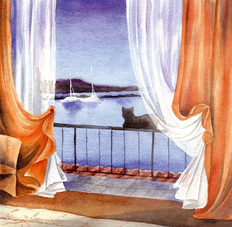 Kat bij het venster - kunstwerk royalty-vrije illustratie