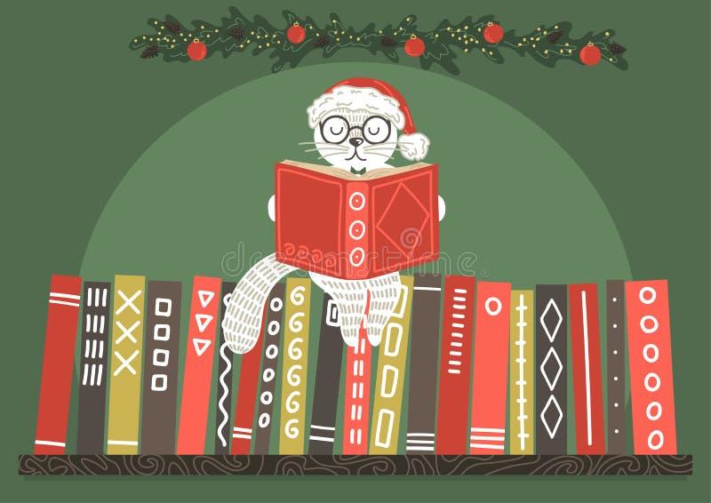 Kat in de lezingsboek van de Kerstmishoed stock illustratie