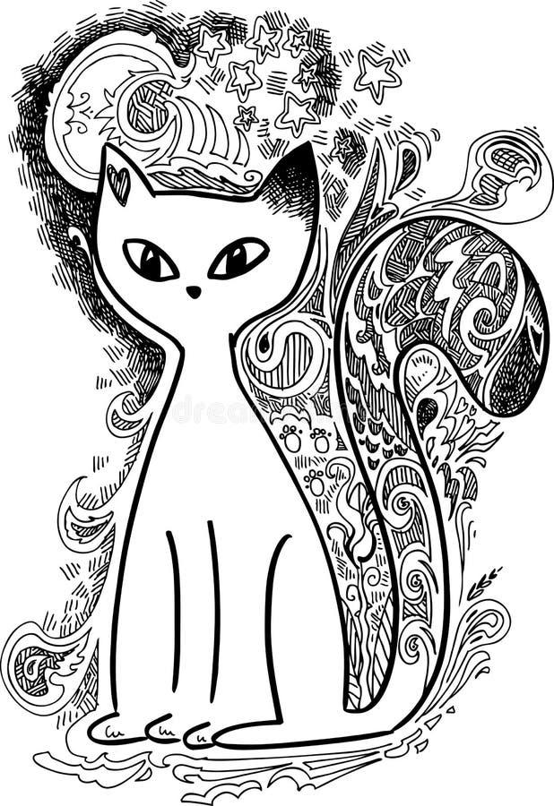 Kat in de maanlicht schetsmatige krabbels royalty-vrije illustratie