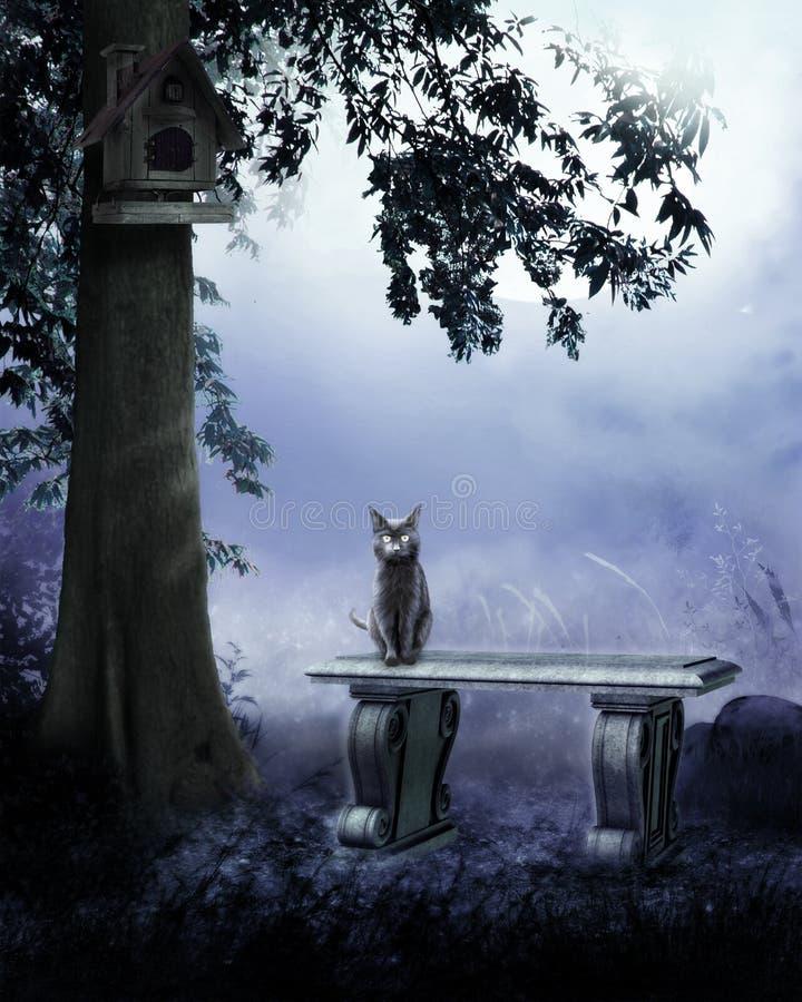Kat in de tuin stock illustratie