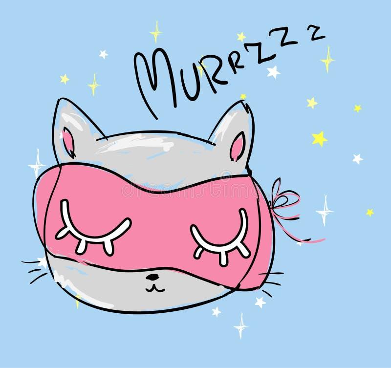 Kat in de vectorillustratie van het slaapmasker Zoete Dromen royalty-vrije stock foto's
