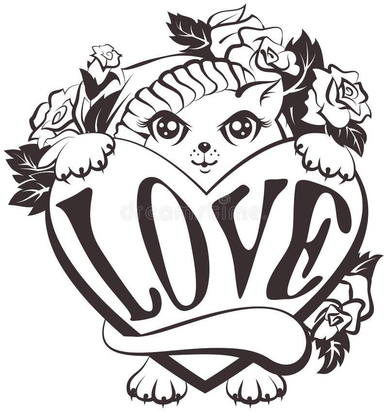 Kat die een hart met liefde houden royalty-vrije illustratie