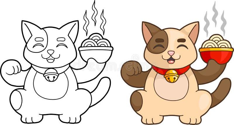 Kat die een kom van noedels houden royalty-vrije illustratie