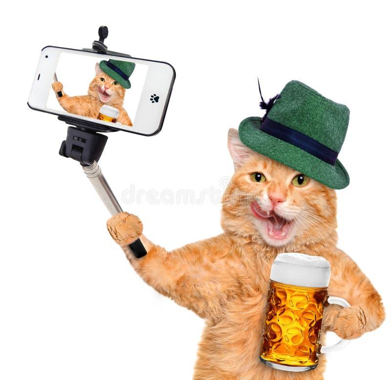 Kat die een selfie met een smartphone nemen royalty-vrije stock foto