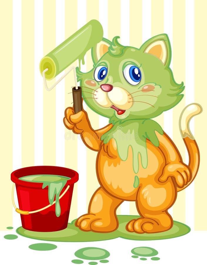 Kat die verf morst stock illustratie