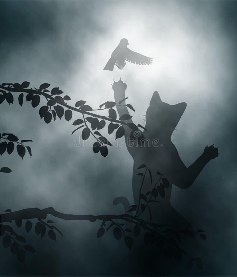 Kat die zangvogel in een hinderlaag lokken vector illustratie