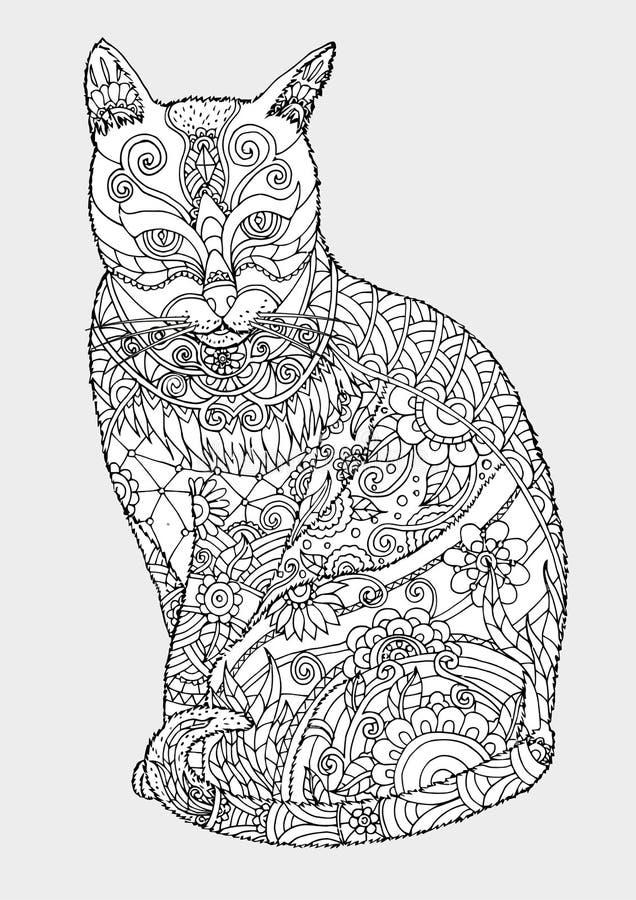 Kat die zentangle met de hand trekken stock afbeeldingen
