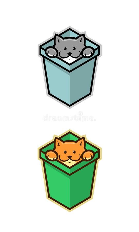 Kat in doos stock illustratie