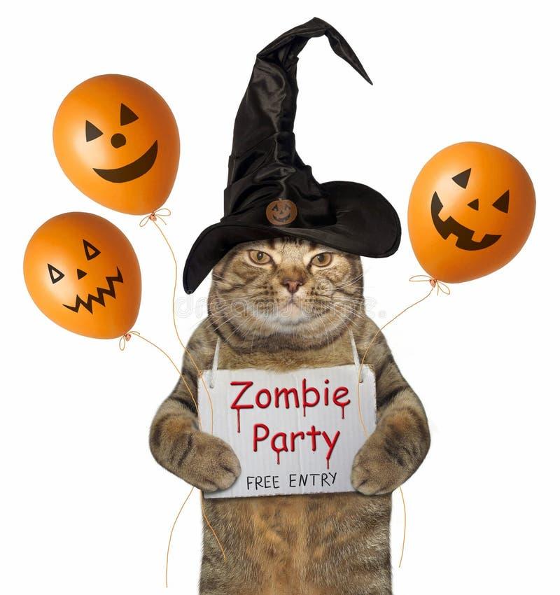 Kat in een heksenhoed met Halloween-ballons stock illustratie