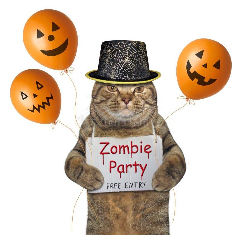 Kat in een hoed met Halloween-ballons stock fotografie