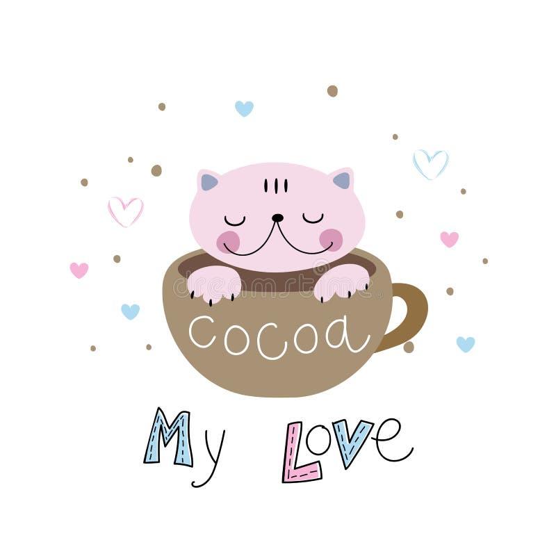 Kat in een leuke stijlzitting in een mok lettering cacao Mijn Liefde Vector royalty-vrije illustratie