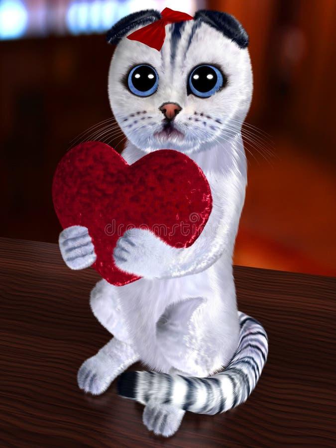 Kat en abstract hart stock illustratie