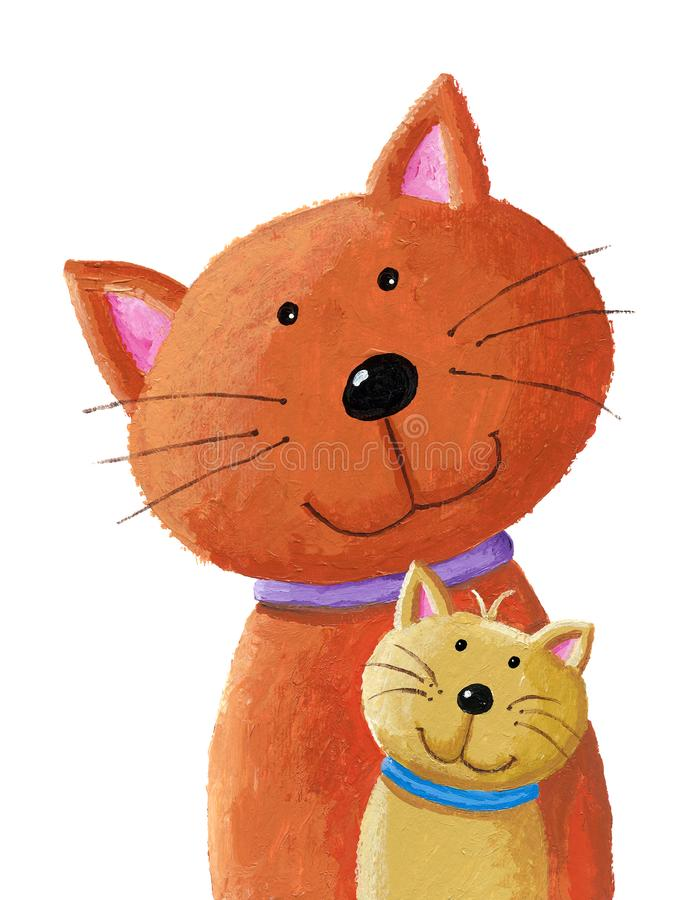 Kat en babykatje vector illustratie