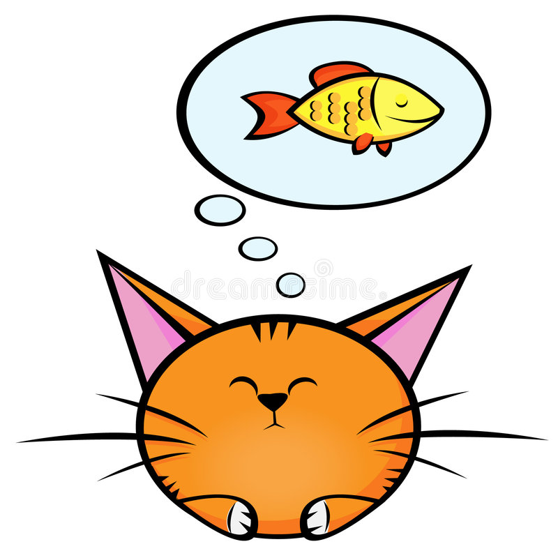 Kat en fish2 vector illustratie
