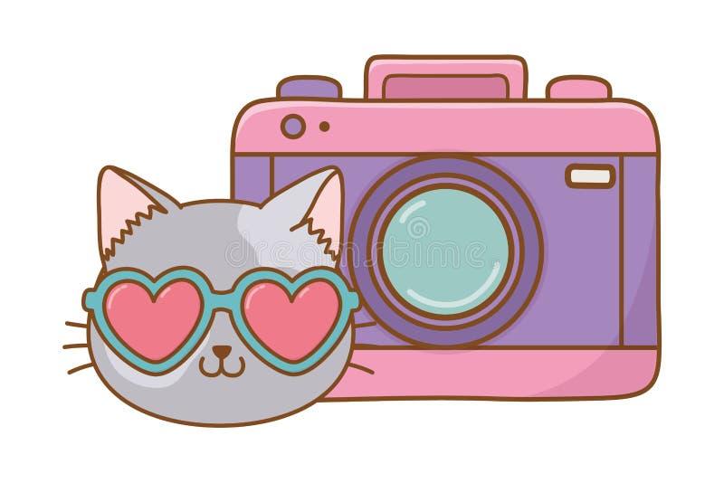 Kat en fotografische camera vector illustratie