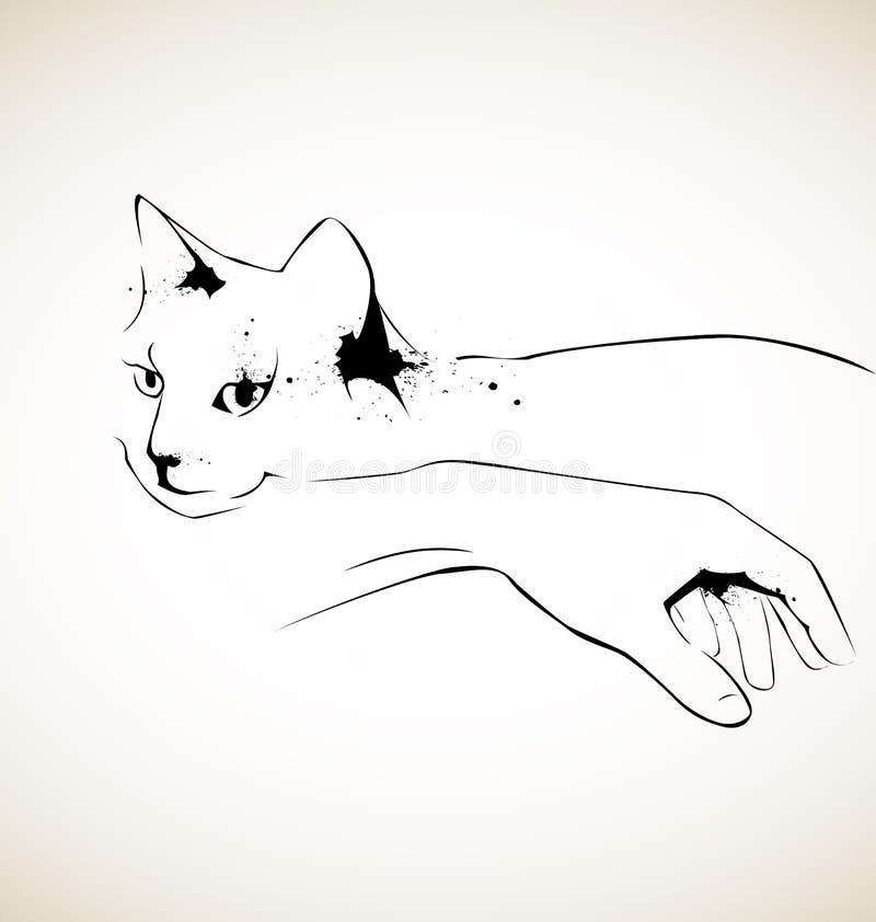 Kat en hand royalty-vrije illustratie