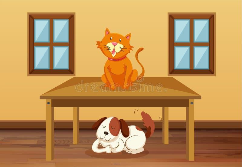 Kat en hond in de ruimte stock illustratie