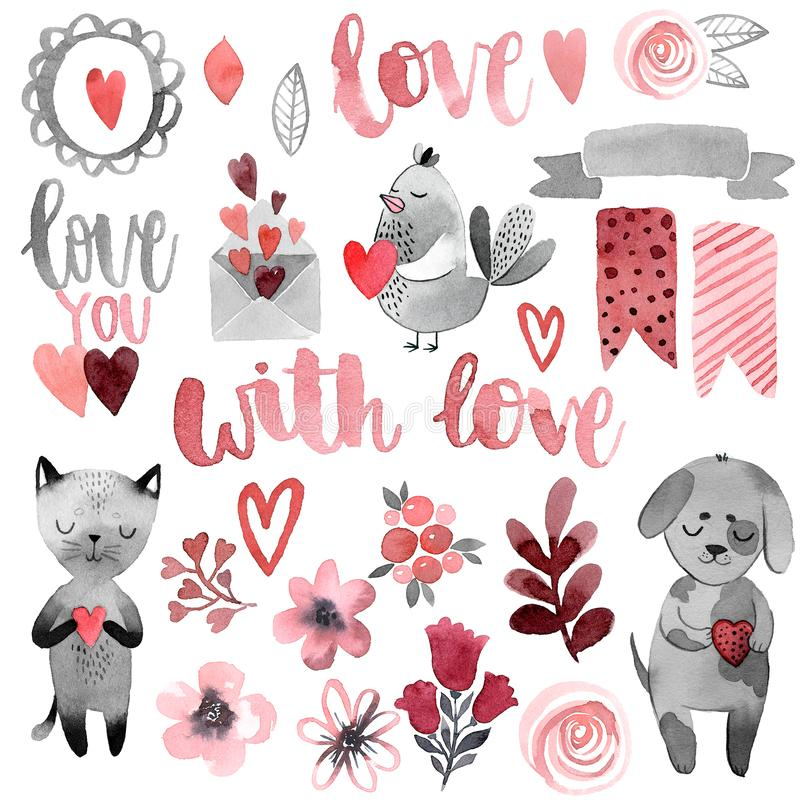 Kat en hond met hart en liefde stock illustratie