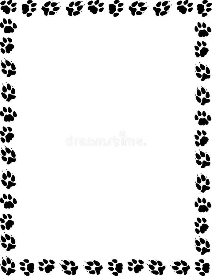 Kat en hond pawprints grens stock illustratie