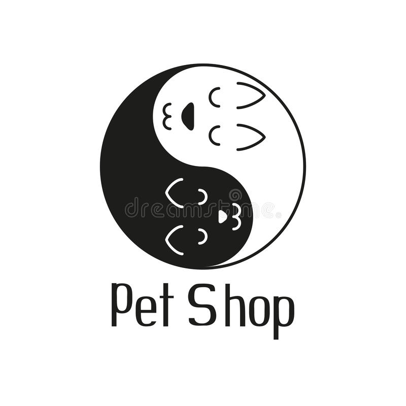 Kat en hond zoals Yin Yang, teken voor dierenwinkel stock illustratie