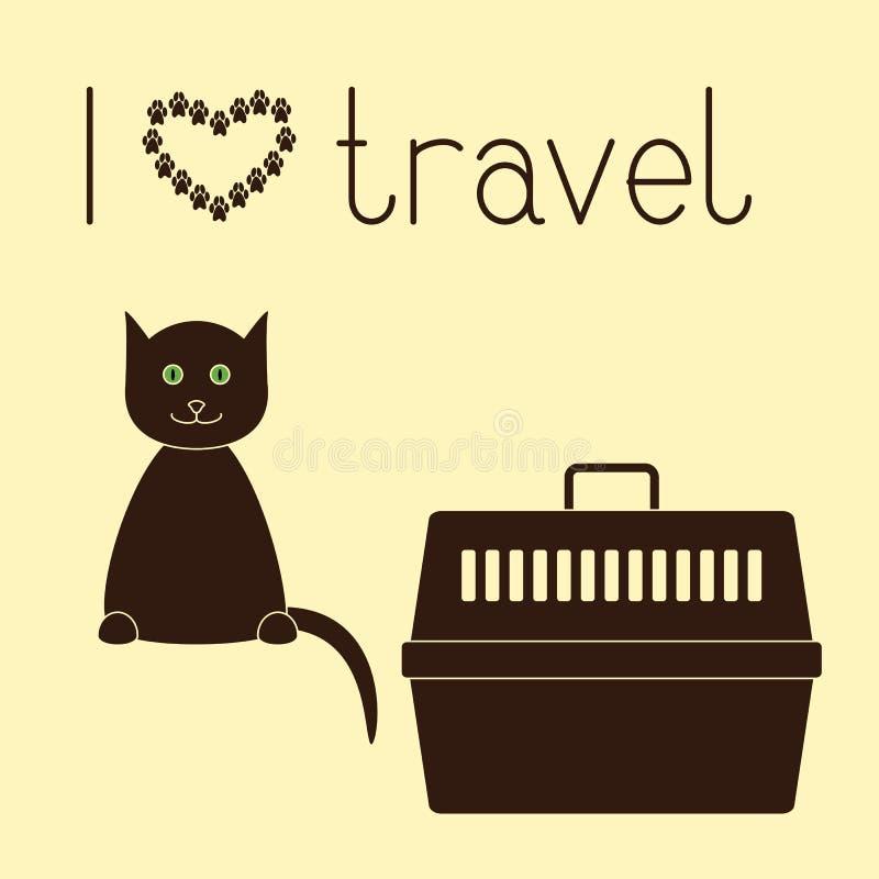 Kat en huisdierendrager royalty-vrije illustratie