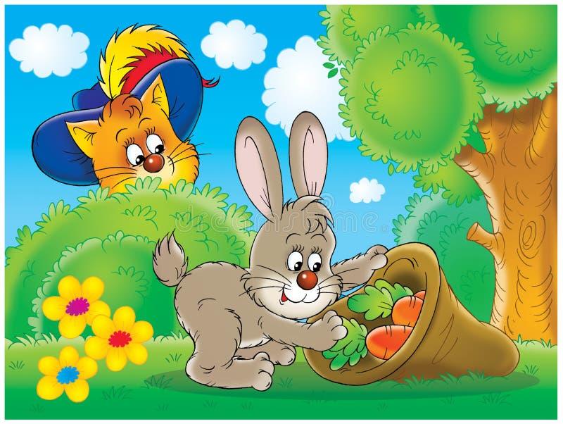 Kat en konijn stock illustratie